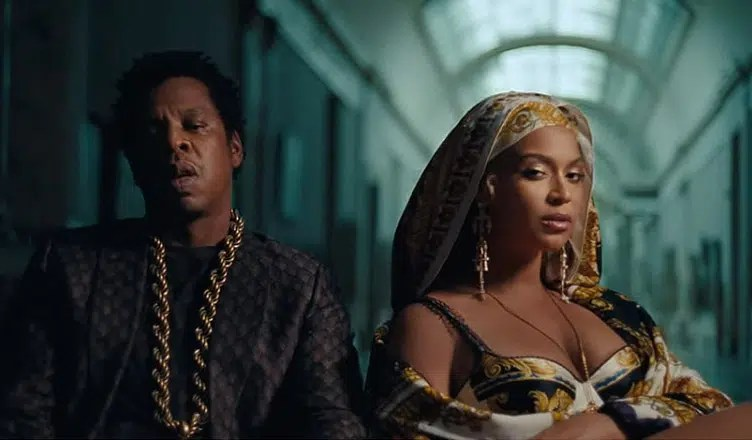 "Beyonce and Jay Z from the single ""Apeshit"" (Credit: YouTube)"