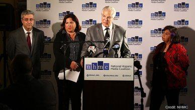 Members of the National Hispanic Media Coalition and National Latino Media Council held a news Tuesday in Pasadena about Latino representation in Hollywood. (Credit: NHMC)