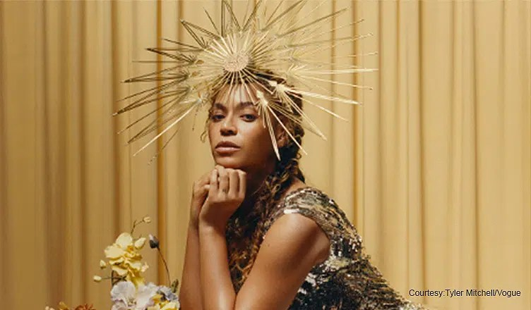Beyonce appears in Vogue magazine. (Credit: Tyler Mitchell/Vogue)