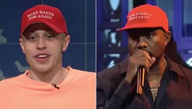 Pete Davidson and Kanye West (Credit: NBC)