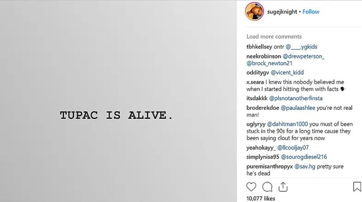 Tupac Is Alive Instagram Post (Credit: Instagram)
