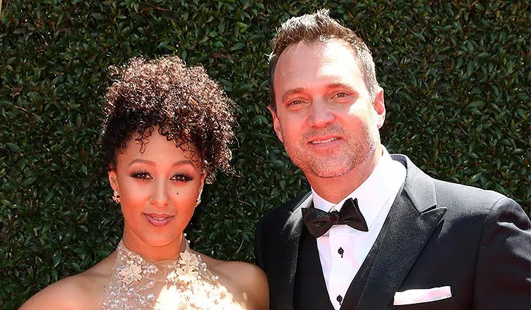 LOS ANGELES - APR 30: Tamera Mowry-Housley, Adam Housley at the 44th Daytime Emmy Awards - Arrivals at the Pasadena Civic Auditorium on April 30, 2017 in Pasadena, CA (Credit: Shutterstock)