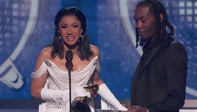 Cardi B won the best rap album Grammy Award on Sunday, Feb. 10, 2019. (Credit: YouTube/ Recording Academy / GRAMMYs)