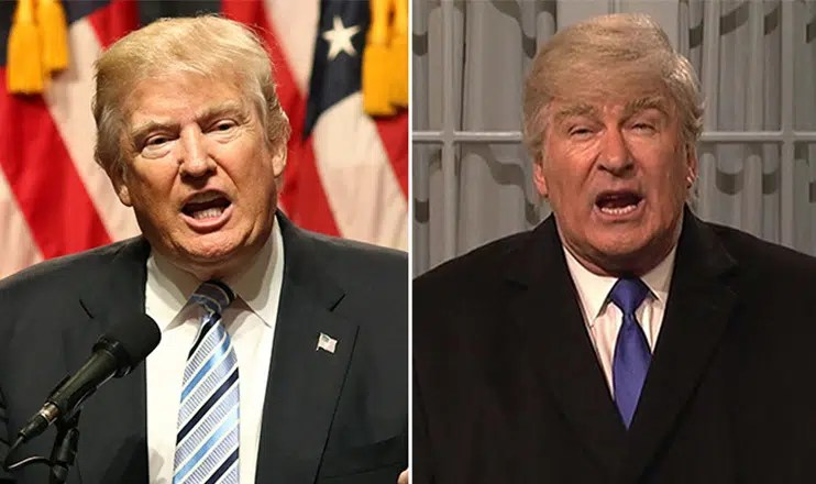 "Donald Trump and Alec Baldwin on ""Saturday Night Live."" (Credit: Shutterstock and NBC)"