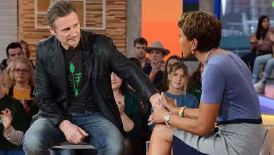 "Liam Neeson appeared on ""Good Morning America"" Tuesday. (Credit: ABC)"
