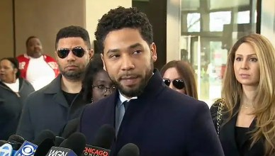 Jussie Smollett speaks to reports on March 26, 2019, after prosecutors drop charges against him. (Credit: YouTube/Fox News)