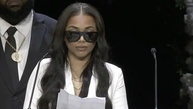 Lauren London at Nipsey Hussle Funeral (Credit: KTLA.com)
