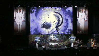The stage is shown at the Nipsey Hussle memorial service on Thursday, April 11, 2019. (Credit: KTLA)