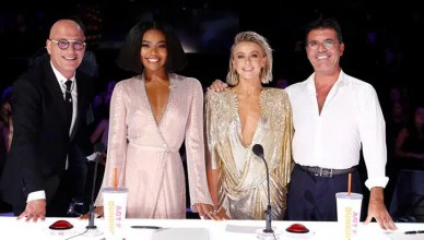 America's Got Talent Judges Howie Mandel, Gabrielle Union, Julianne Hough, Simon Cowell (Credit: Trae Patton/NBC)