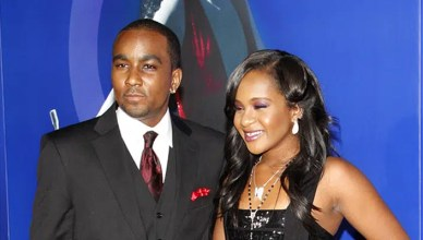 """LOS ANGELES, CA, USA - 16 AUGUST 2012: Bobbi Kristina Brown and Nick Gordon at the Los Angeles premiere of """"Sparkle"""" held at the Grauman's Chinese Theatre — Photo by PopularImages"""