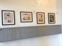 "Collaged ""Historic Storyboards"" made from 1970 newspaper reproductions"