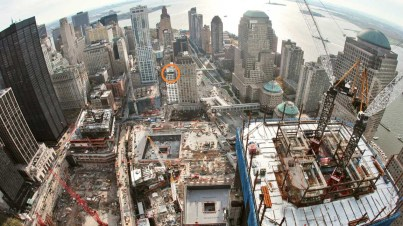 Circled in orange is the Club Quarters WTC Hotel the viewpoint I captured is from.