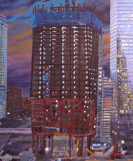 One WTC previously named the Freedom Tower at about 45 of 104 stories built