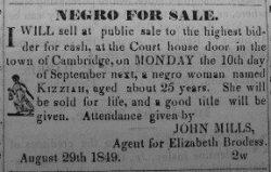 Sale of Slave Girl Kizziah