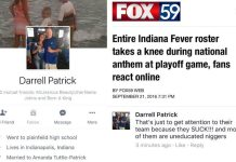 Indiana Man's Racist Reaction to Indiana Fever Kneeling During the National Anthem