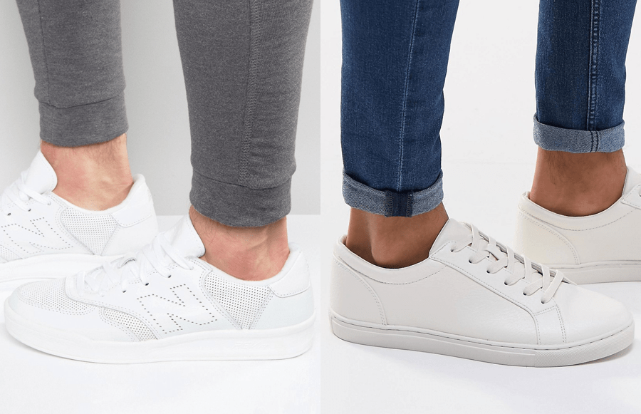 White trainers (Left: New Balance £70, Right: ASOS £25)