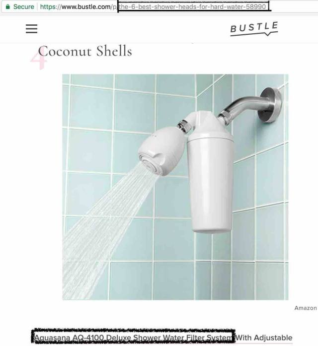 Bustle Article recommending aquasana as a hard water shower filter