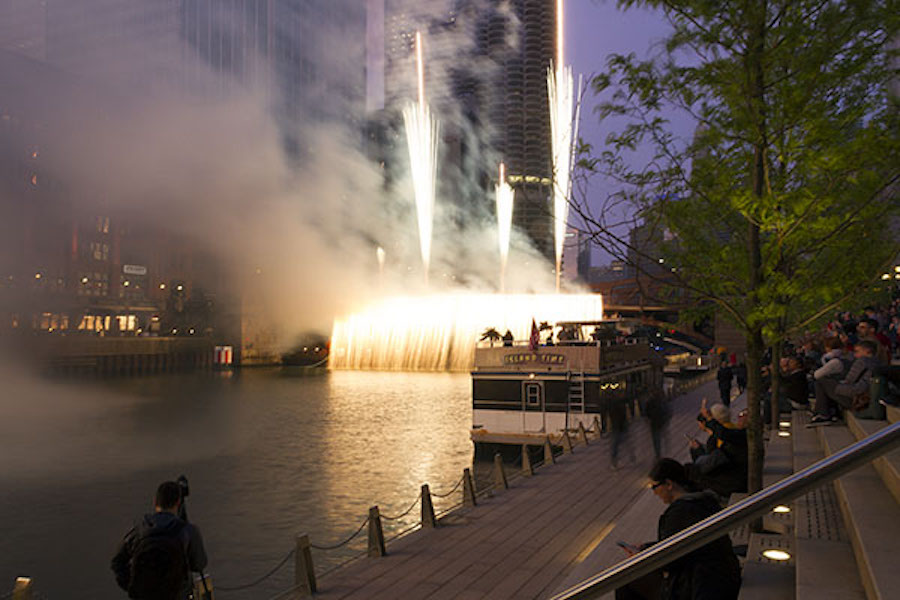 riverwalk pyrotechnic waterfall