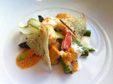 Peekytoe crab and asparagus salad