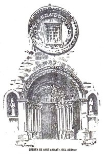 "Door of ""Santa María del Azogue"". Illustration of the newspaper ""La Voz de Galicia"""