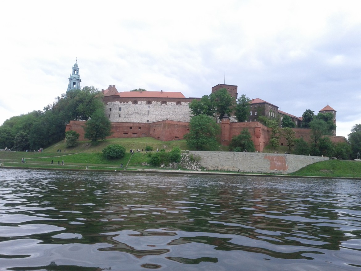 View of Wawel while kayaking the Wisla River in Krakow, Poland