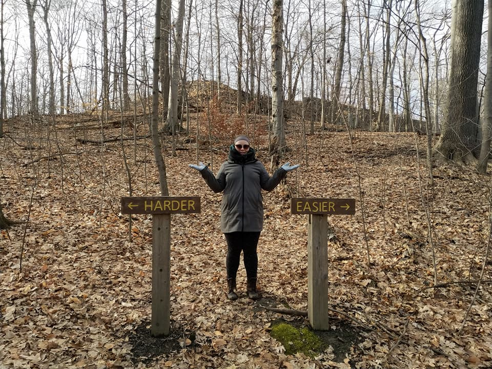 """The Crothers Woods trail split into """"easier"""" and """"harder"""" sections at one point"""