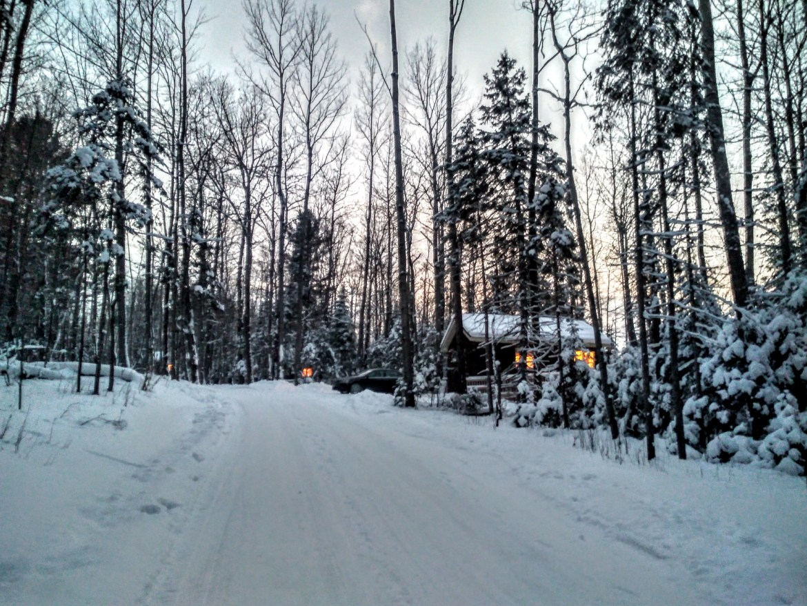 Silent Lake Provincial Park's cabins are nestled among trees on a road away from the other campgrounds