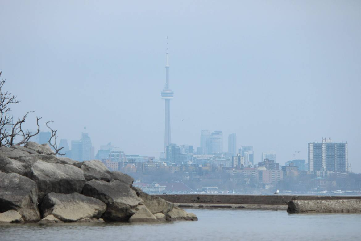 The downtown Toronto skyline from the mouth of the Humber River on Lake Ontario in Toronto