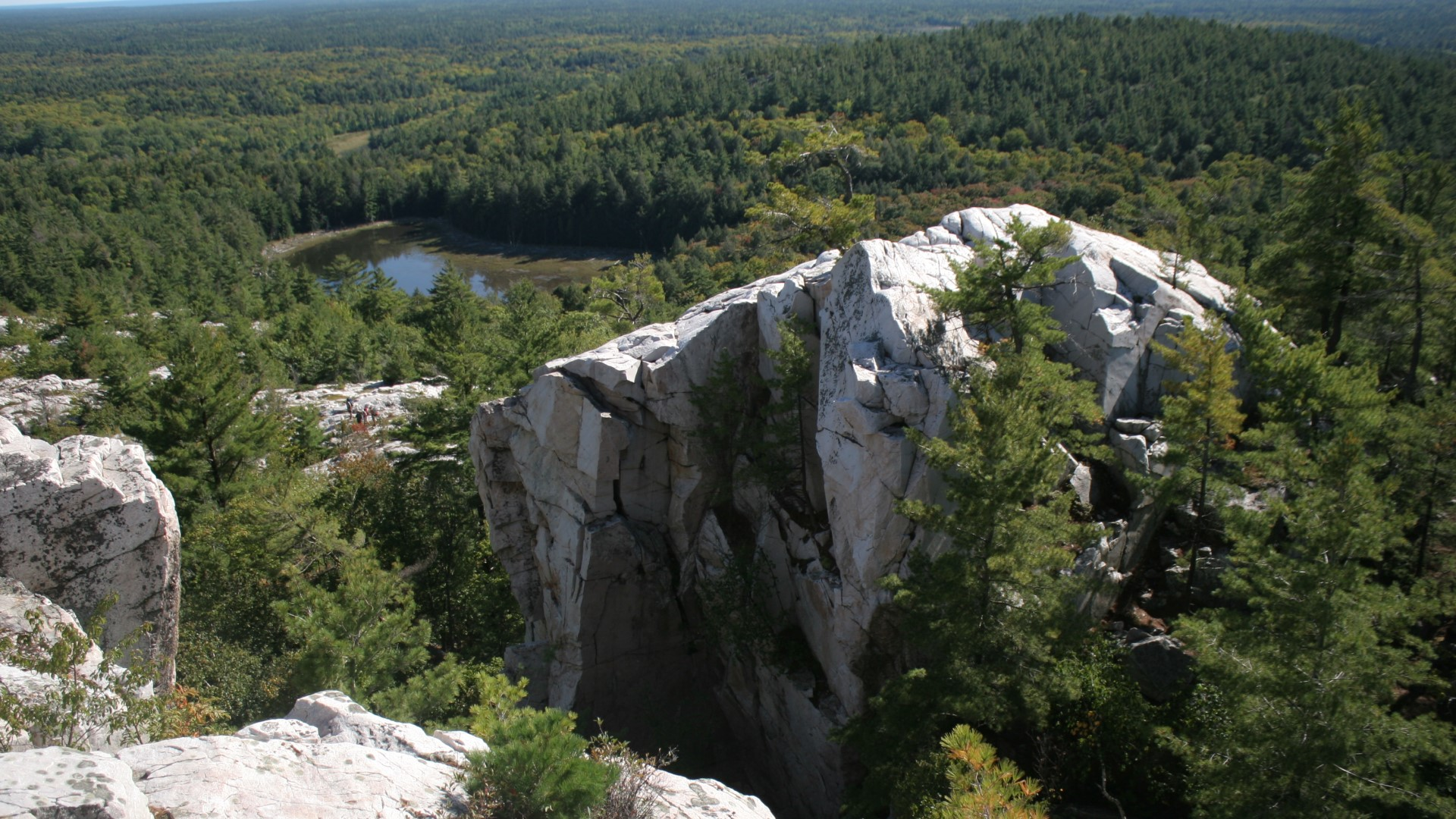 At the peak of The Crack in Killarney Provincial Park, Ontario.