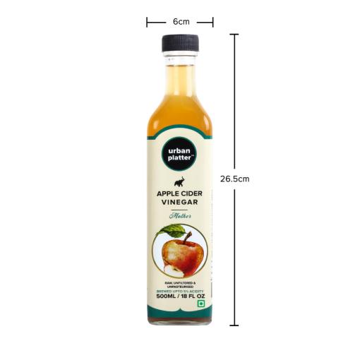 Urban Platter Himalayan Apple Cider Vinegar, 500ml [Raw, Unfiltered, With the 'Mother', Now in Glass Bottle!]