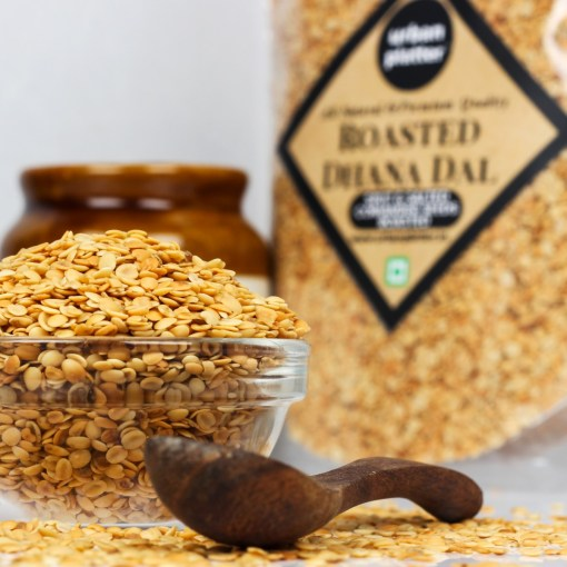 Urban Platter Roasted Dhana Dal (Roasted Split Coriander Seeds), 400g