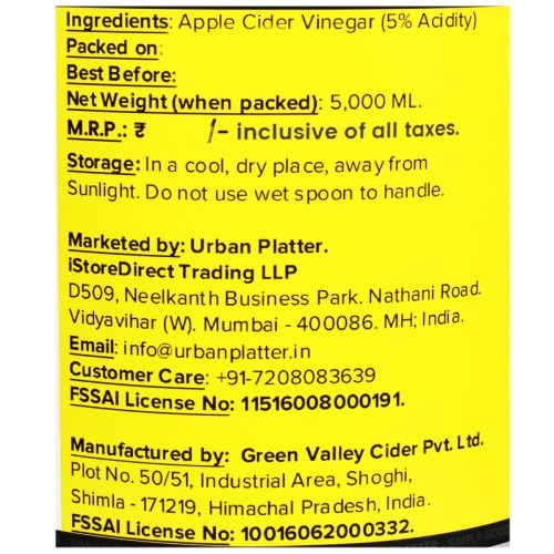 Urban Platter Himalayan Apple Cider Vinegar, 5,000ml [Raw, Unfiltered, With the 'Mother']