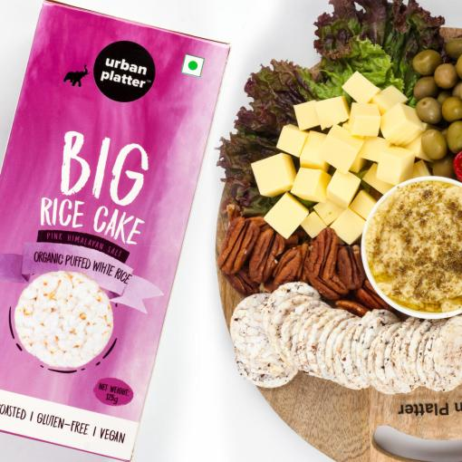 Urban Platter Organic Puffed White Big Rice Cakes, 125g