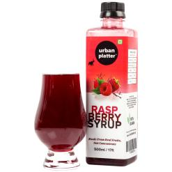 Urban Platter Raspberry Syrup, 500ml / 17fl.oz [Vegan, Thick, Made From Real Fruits]