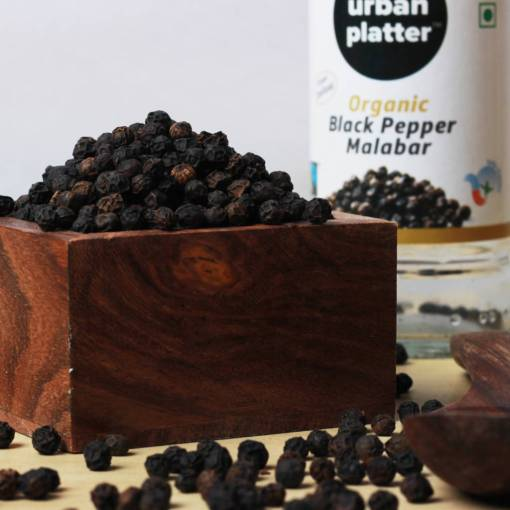 Urban Platter Malabar Organic Whole Black Pepper, 60g [Grinder Bottle, Fairtrade & USDA Certified]