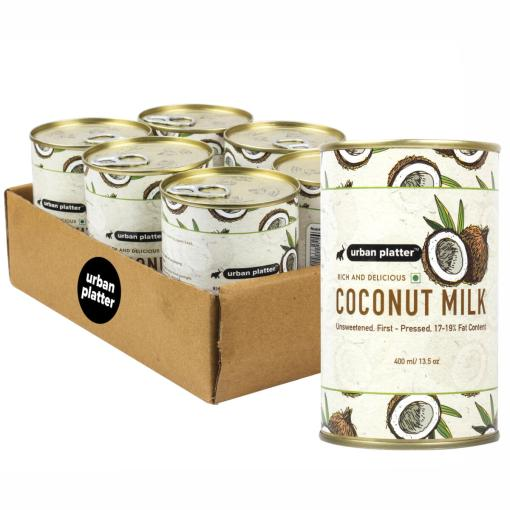 Urban Platter Coconut Milk, 400ml / 13.5fl.oz [Pack of 6, Unsweetened, First-Pressed, 17-19% Fat Content]