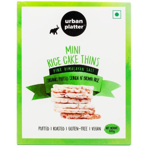 Urban Platter Organic Puffed Quinoa & Brown Mini Rice Cake Thins, 100g