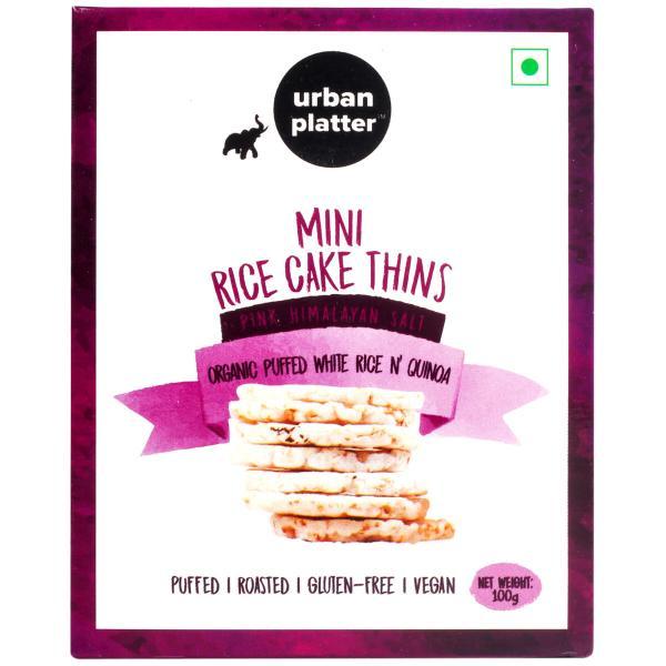 Urban Platter Organic Puffed White Rice & Quinoa Mini Rice Cake Thins, 100g