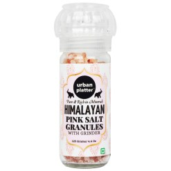Urban Platter Pink Himalayan Rock Salt Granules in Grinder Bottle, 125g [Ultimate Salt Experience]