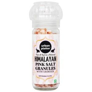 Urban Platter Pink Himalayan Rock Salt Granules in Grinder Bottle, 125g [Ultimate Salt Experience]