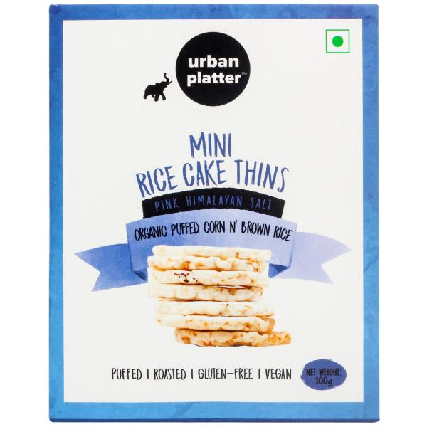 Urban Platter Organic Puffed Corn and Brown Mini Rice Cake Thins, 100g