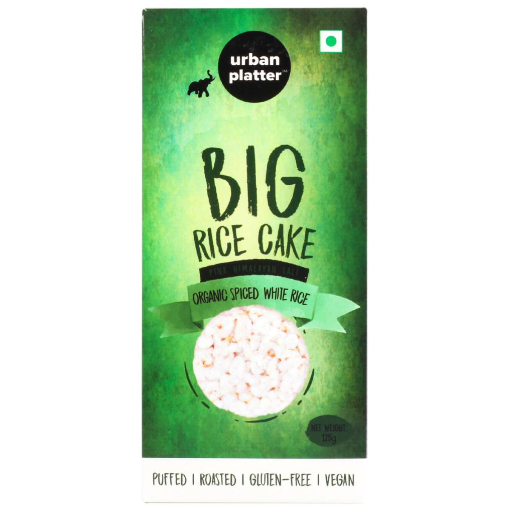 Urban Platter Organic Puffed Spiced White Big Rice Cakes, 125g