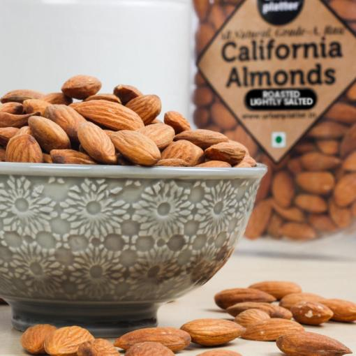 Urban Platter Roasted Salted California Almonds, 1Kg / 35.2oz [All Natural and Grade A Almonds, Lightly Salted]