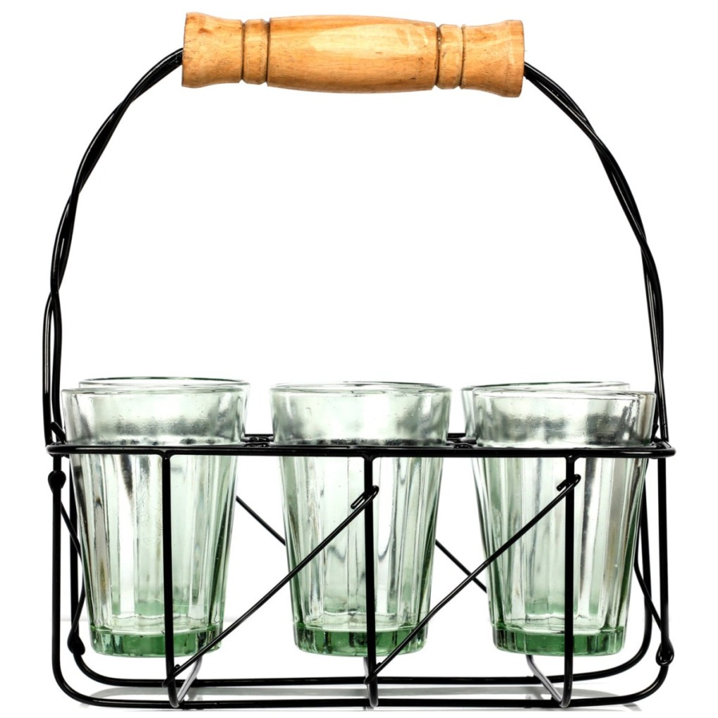 Urban Platter Cutting Chai Glasses with Stand,  [Set of 6 Transparent glasses with Stand]
