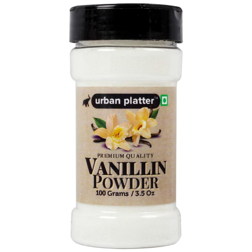 Urban Platter Vanillin Powder Shaker Jar, 100g / 3.5oz [Finely Ground, Rich Aroma, Sweet Vanilla Flavour]