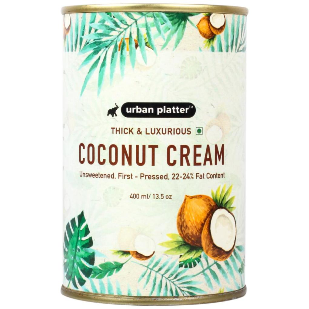 Urban Platter Coconut Cream, 400ml / 13.5fl.oz [Unsweetened, First-Pressed, 22-24% Fat Content]