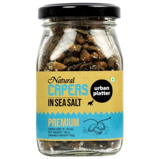 Urban Platter Premium Caper in Sea Salt, 130g / 4.6oz [Size:11-13mm, All Natural and Aromatic]