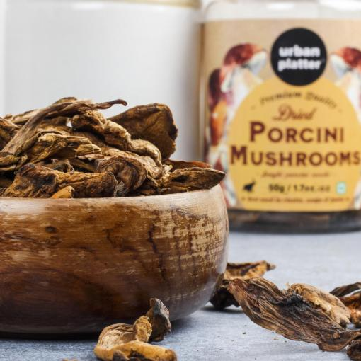 Urban Platter Dried Italian Porcini Mushrooms, 50g / 1.76oz [All Natural, Sun-Dried, Funghi Porcini Secchi]