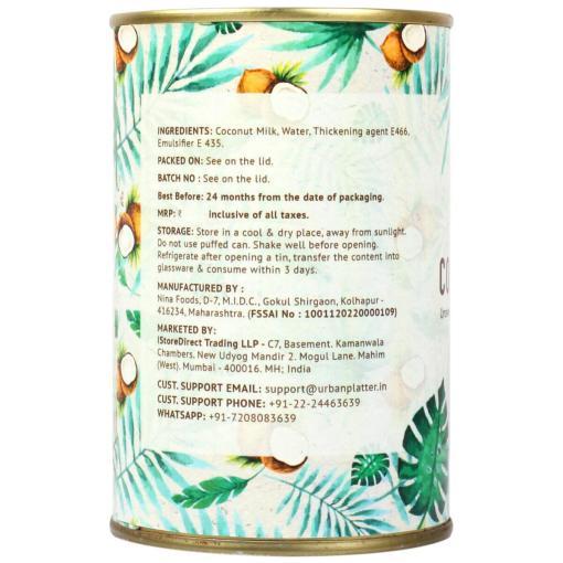 Urban Platter Coconut Cream, 400ml / 13.5fl.oz [Unsweetened, First-Pressed, 22-24% Fat Content]