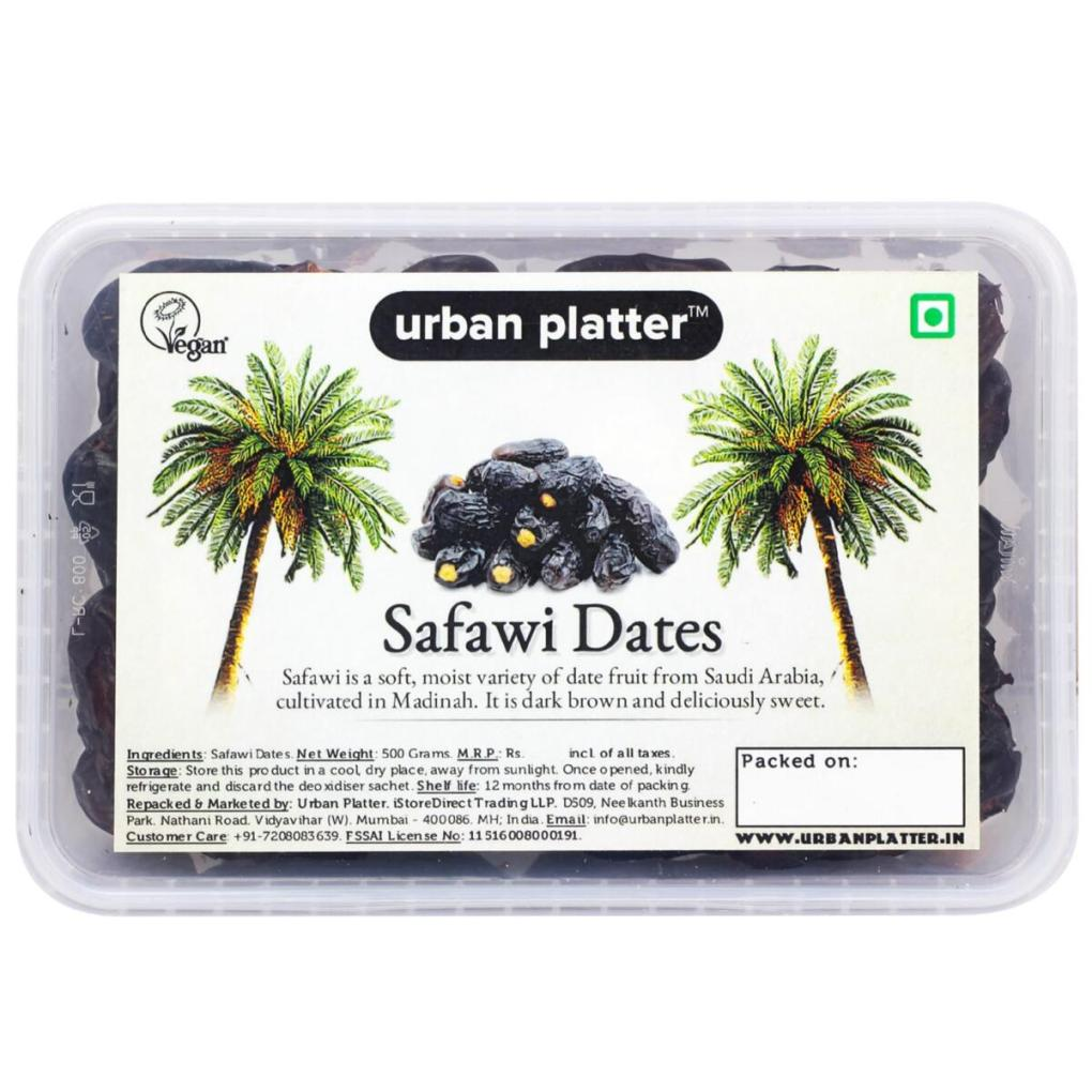 Urban Platter Safawi Dates, 500g [All Natural, Soft & Juicy]